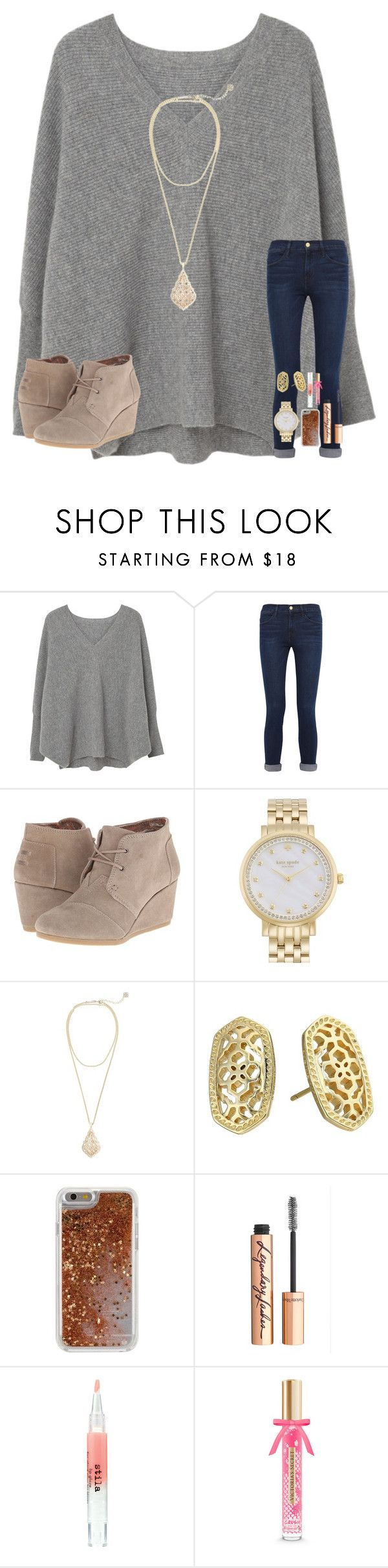 """"""" game tonight"""" by mae343 ❤ liked on Polyvore featuring MANGO, Frame, TOMS, Kate Spade, Kendra Scott, Agent 18, Charlotte Tilbury, Stila and Victoria's Secret"""
