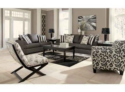 Levon Charcoal Sofa, Loveseat & floral-print chair