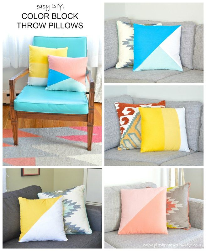 Sewing Projects for The Home - Easy DIY Colorblock Throw Pillows - Free DIY Sewing Patterns Easy Ideas and Tutorials for Curtains\u2026