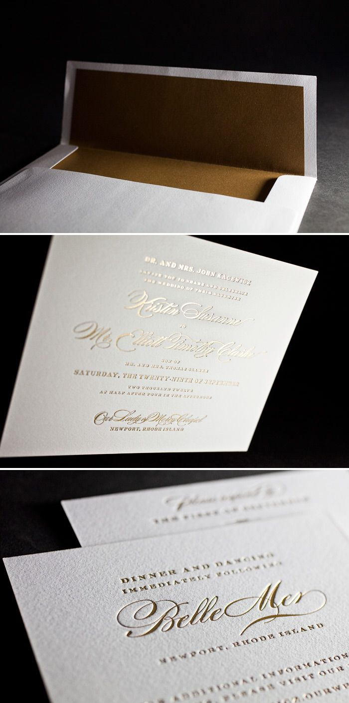 Our classic Deveril design in gold matte foil with a metallic gold envelope liner