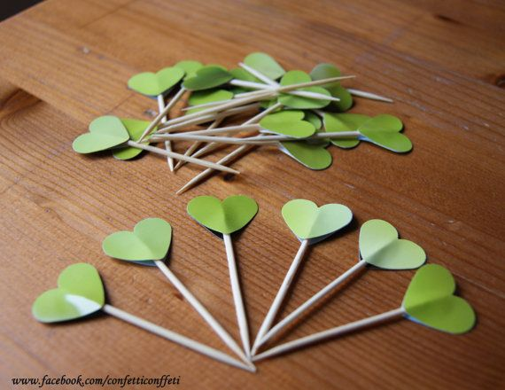 22 x Jungle Green Heart Cupcake Toppers Tea by ConfettiConffeti, $4.40