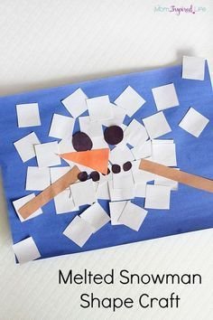 Melted snowman shape craft. A fun winter craft for kids! Learn shapes and develop fine motor skills.