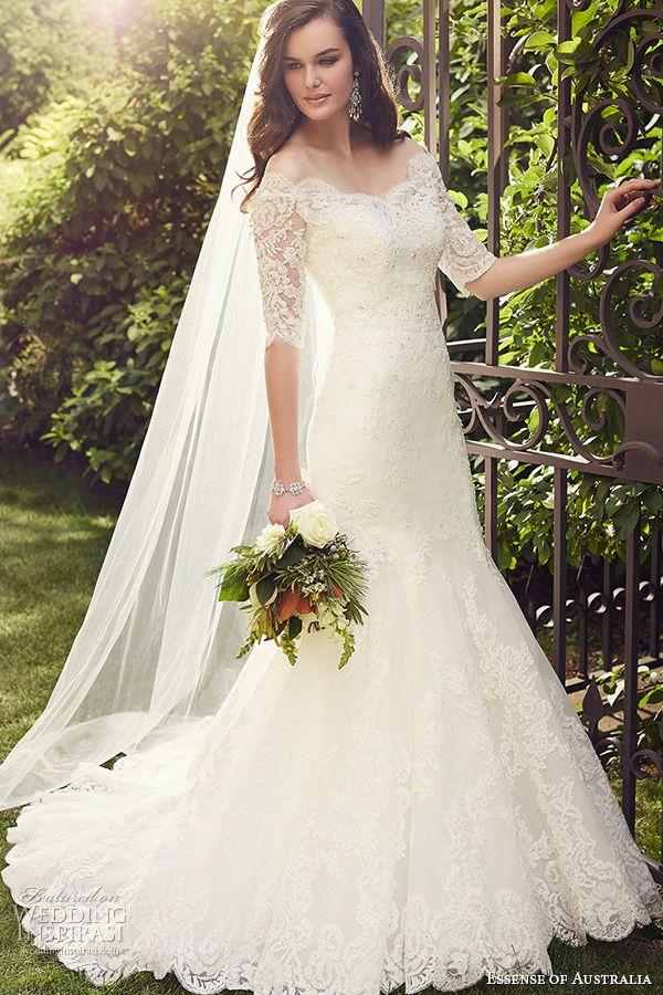 essense of australia wedding dress 2015 bridal off the shoulder neckline half lace sleeves mermaid gown d1748