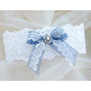 Dusky Blue Wedding Garter