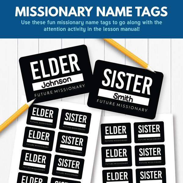 "LDS Primary Missionary Name Tags - ""The Lord Helps Missionaries"" (Primary 3 Lesson 24)"