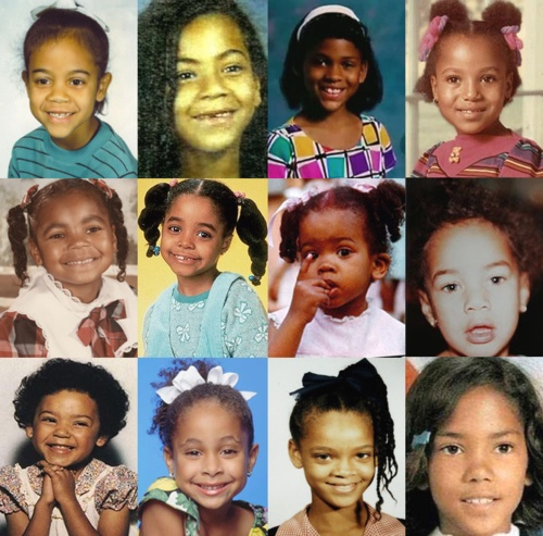 I recognize little Beyonce, Megan Goode, Kerry Washington, Keisha Knight Pulliam, Raven Symone, Rihanna, and Halle Berry. Who did I miss?