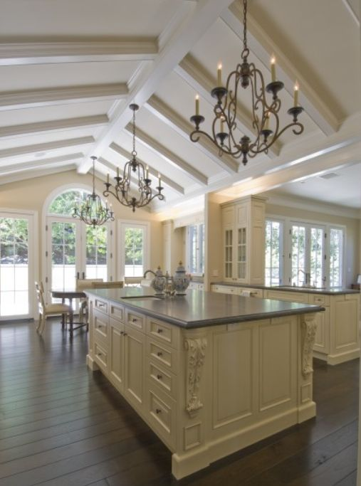 sloped wood ceiling decoroom home country kitchen