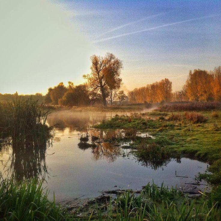Dinsdagochtend rondje #rennen door de Stadsweide #Roermond. #herfst #autumn #autumncolours #fog #sunrise #running