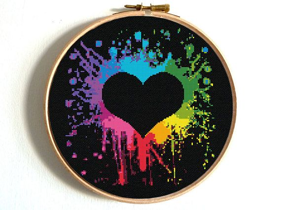 Heart Cross Stitch Pattern Colorful Rainbow Embroidery Heart
