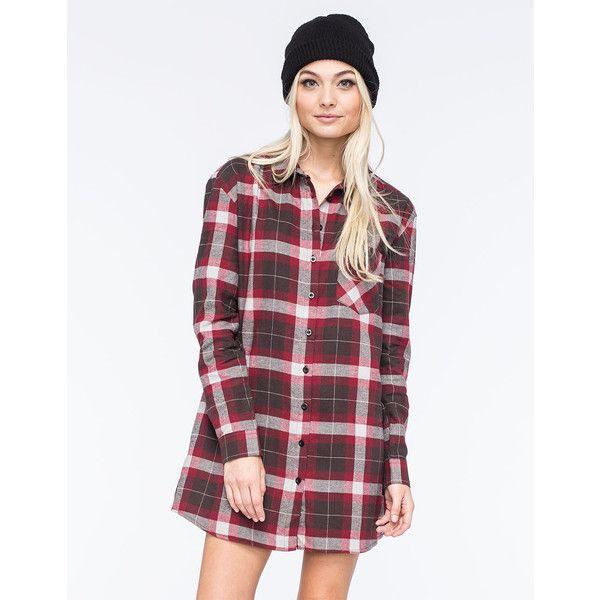 Lira Keep It Real Womens Flannel Tunic (€41) ❤ liked on Polyvore featuring tops, tunics, maroon, henley shirt, oversized shirt, women tops, plaid tunic and tartan shirt