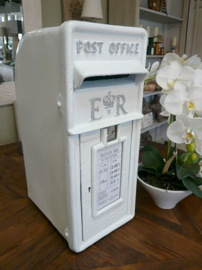 This is my beautiful white wedding post box which is available to my clients.  It's fantastic to use to keep all your cards and small presents safe at your wedding as it is locked.