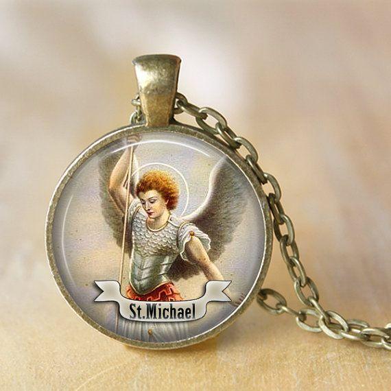 St Michael Necklace Saint Pendant Necklace by LiteraryArtPrints