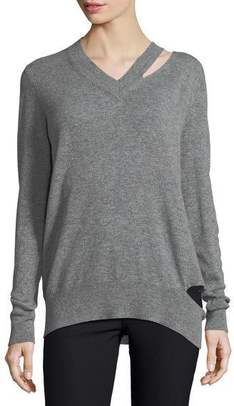 Autumn Cashmere Slash V-Neck Oversized Pullover Sweater