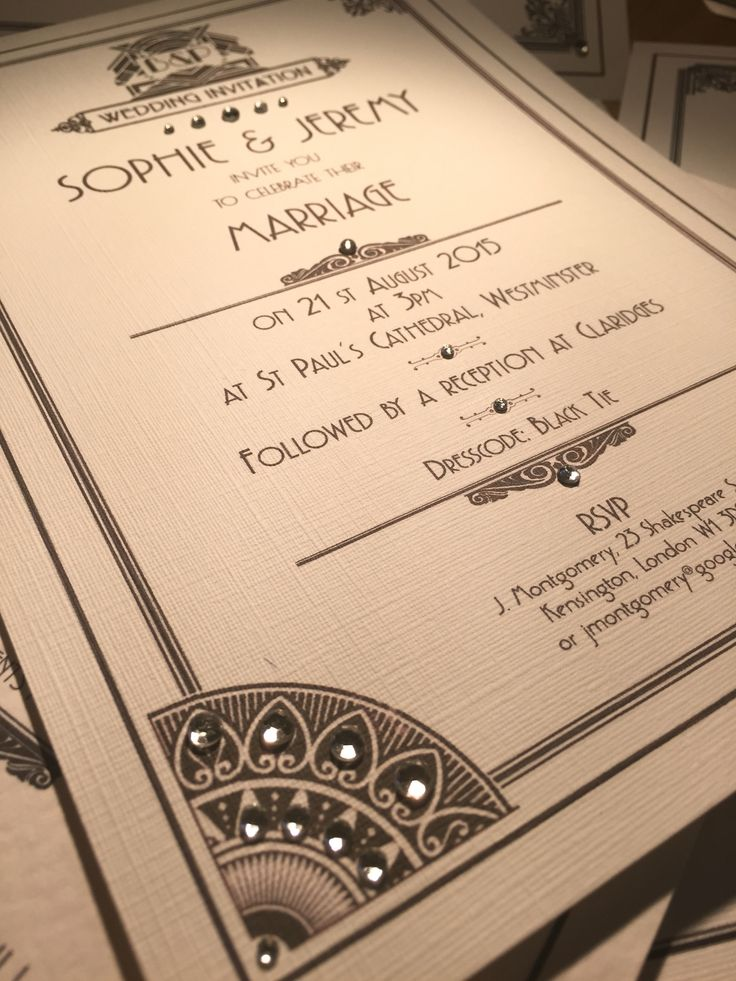 THE GREAT GATSBY 7 Stunning Wedding Invitation Ideas for 2016. By top London luxury bespoke wedding stationery experts Perfect Day Weddings.   A GREAT GATSBY THEME WEDDING INVITATION will dazzle your wedding guests and make an impressive first impression. You don't get more classy than black and white.   See more at www.perfectday-weddings.co.uk Or call 0208 890 5707 for an informal chat or to book a free no-obligation design consultation at our beautiful showroom.