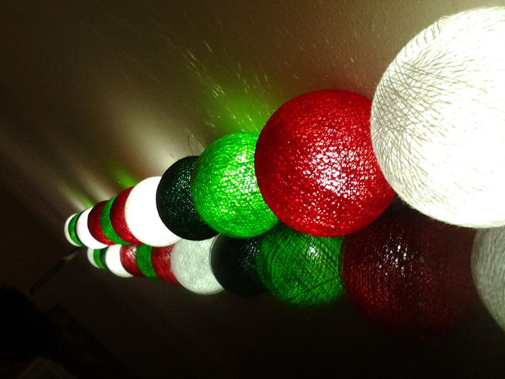 Christmas Colours - Cotton Balls String Lights in Spicy Red, Brilliant White, Apple and Hunters Green from Cotton Cable