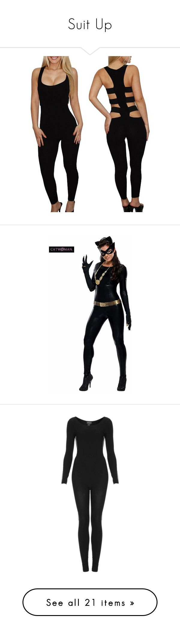 """""""Suit Up"""" by the-walking-dez ❤ liked on Polyvore featuring jumpsuits, costumes, halloween costumes, multicolor, catwoman halloween costume, adult costumes, white costume, white halloween costumes, adult halloween costumes and intimates"""