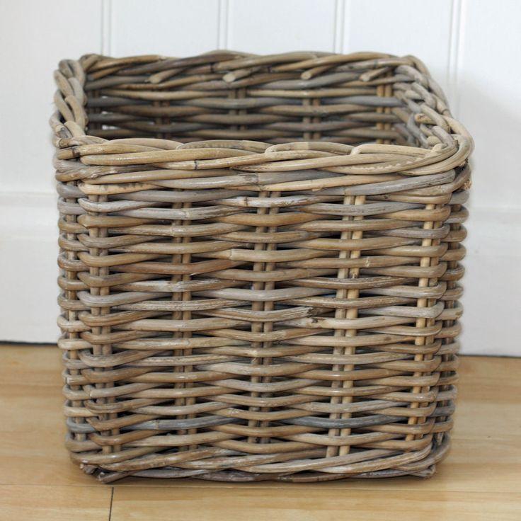 Grey Buff Rattan Square Cube Wicker Storage Basket: Rustic Rattan Wicker Willow Cube Square Toy Storage Basket