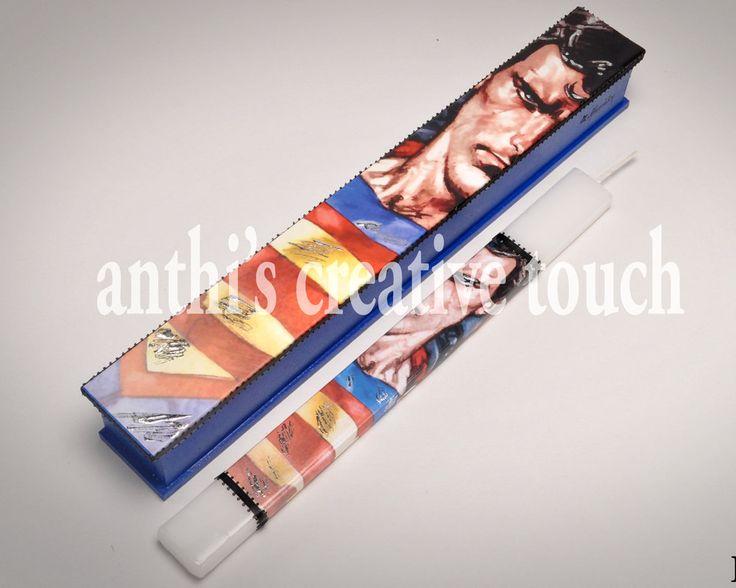Superman, Easter Candle, Greek Easter Candle, Wooden Box, AnthiCreativeTouch, Greek Lambada, Lambada, Superman Candle, Cartoon by AnthiCreativeTouch on Etsy