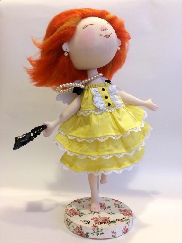 """Куколка сшита по мотивам картины Е.Гапчинской """"Я летаю..."""" (выкройка Юлии Наталевич)  Сшита кукла из хлопка, волосики из пряжи, в ушках ..."""