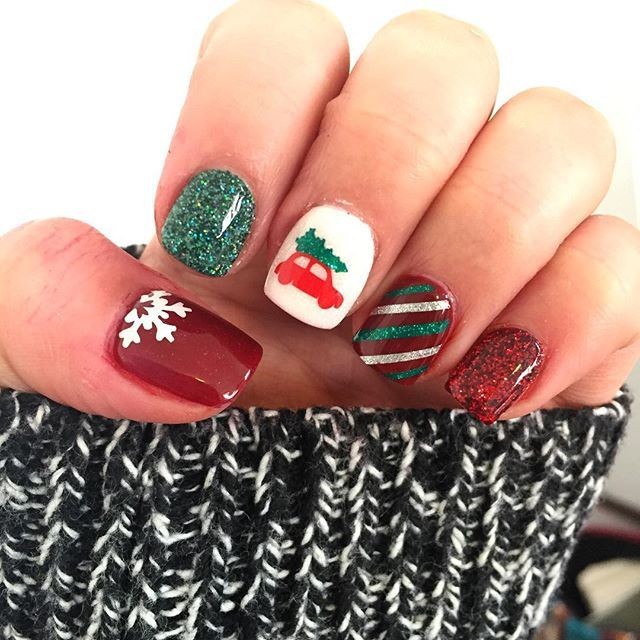 Love The Vintage Cars With The Tree I Have Trucks As Well Nails Dipnails Dippingpowdernails Welovegl Tree Nails Christmas Tree Nails Holiday Nails
