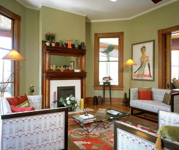 Interior Colors For Small Homes: Green With Wood Trim Interior Of Victorian Homes With
