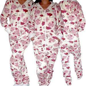 NEU Damen Onesie Overall Jumpsuit One Piece Jogginganzug Kapuze Herz Print Pink   eBay