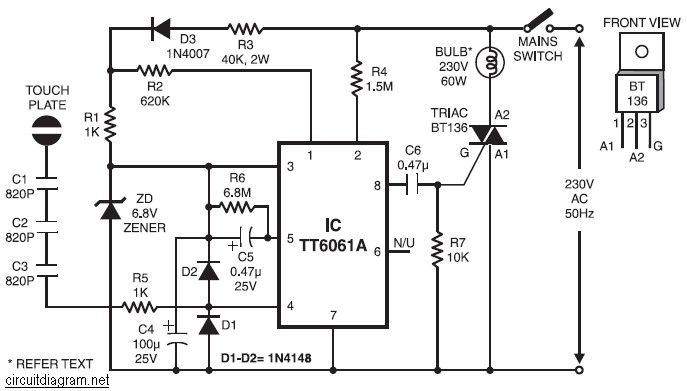 220v Ac Lamp Touch Dimmer Circuit Diagram Dimmer Switch Electronic Circuit Projects