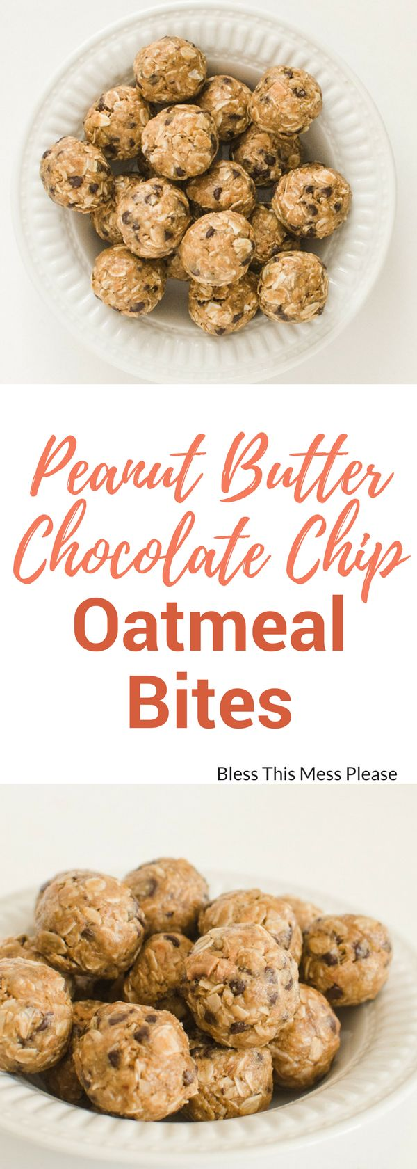 Peanut Butter Chocolate Chip Oatmeal Energy Bites ~ perfect for snacks, dessert, lunch boxes, or post-workout recovery time.