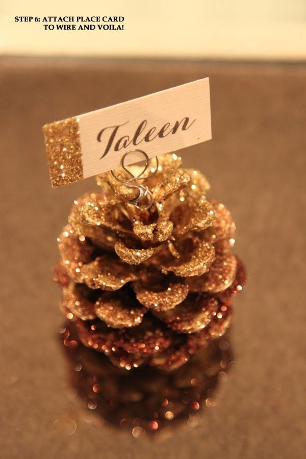 simple little details diy glitter pine cone place card holder