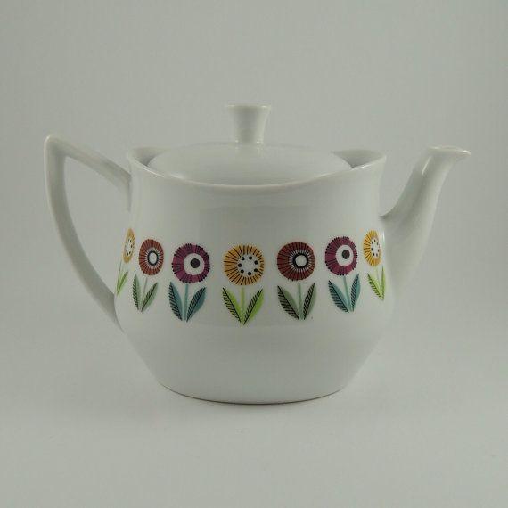 """RARE Upsala Ekeby Karlskrona """"Ignis Bellis"""" Pattern Teapot"""