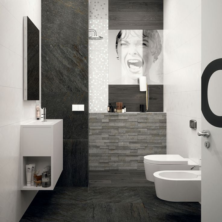 #black and white #design #modern #interior #stone #wall #floor #bathroom #mosaic #psycho #film Different collection by Marca Corona www.marcacorona.it