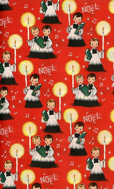 Vintage Christmas gift wrap / wrapping paper.