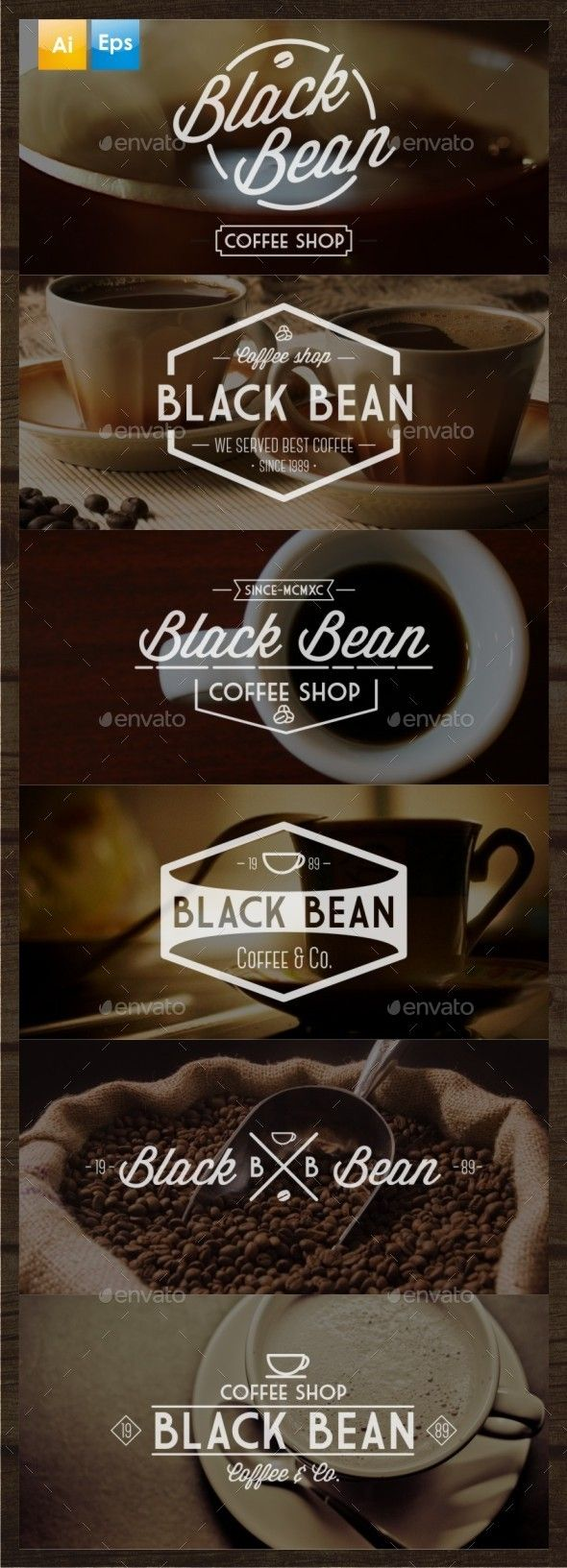 6 Vintage Coffee Logo Template that have been approached very differently. The client may want to have a look at these that might have an effect that she is looking to have on her demographic