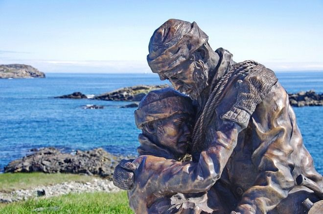 memorial in Elliston, Newfoundland - Reuben and Albert John Crewe died in a sealing disaster