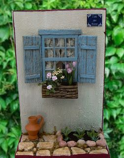 Window with shutters, window box