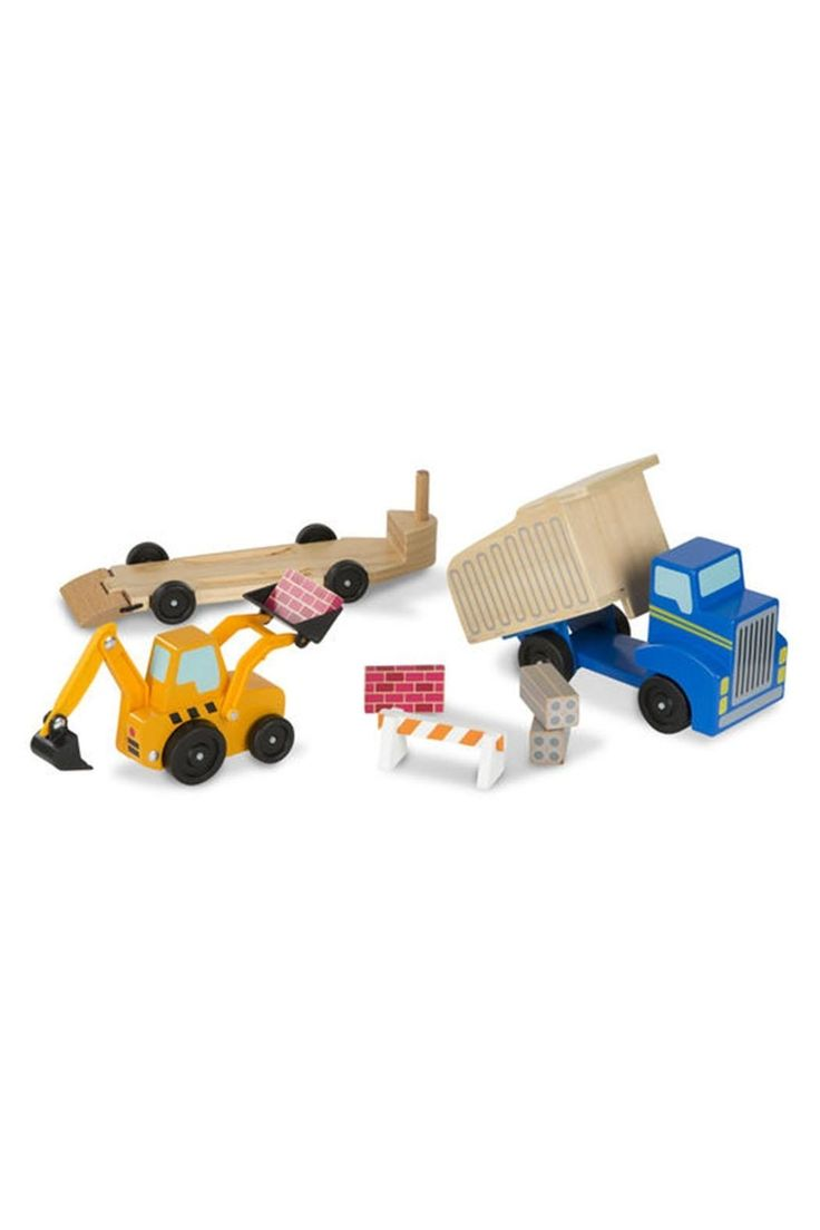 Get constructive play rolling with this heavy duty wooden dump truck, flatbed trailer, and front and backhoe loader! The eight-piece set includes four wooden construction pieces to scoop, haul, and dump, and a wooden road barrier to add to the construction site. The bed of the truck tilts, the trailer can detach from the truck and has a fold-down ramp, and the loader arms and buckets lift and scoop! All three roll smoothly on sturdy wheels and are easy for kids three and older to grasp and…
