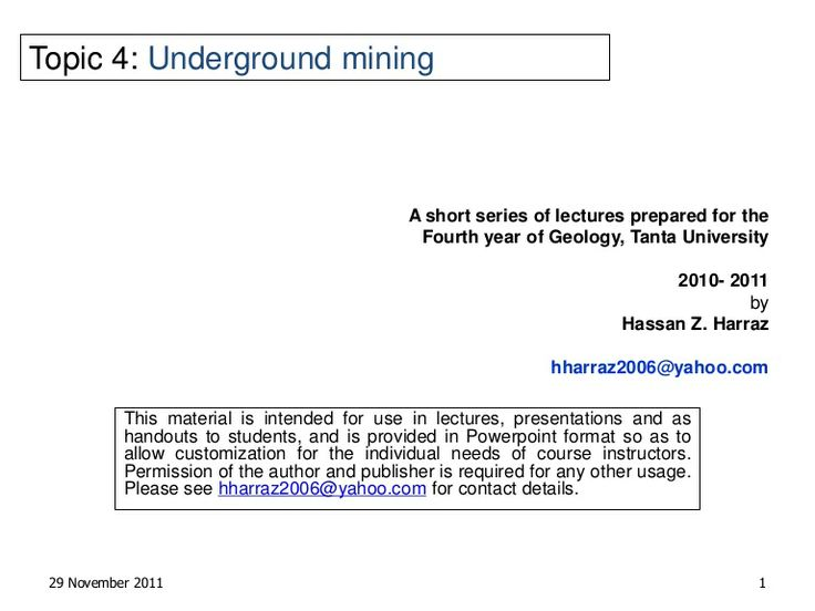 Underground mining techniques - Slide show
