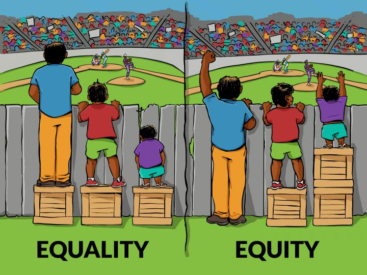 Equality Vs. Equity | Cartoon commissioned by IISC; artist Angus Maguire (beclouded.net)