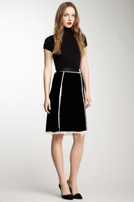 D Velvet Panel Skirt