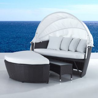 Superb Outdoor Wicker Canopy Loveseat And Convertible Set