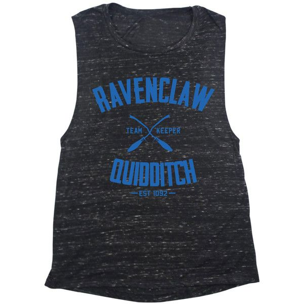 Ravenclaw Quidditch Muscle Tank Top 4 Colors ($22) ❤ liked on Polyvore featuring tops, harry potter, black, tanks, women's clothing, cotton muscle tank, cotton tank, cotton tank tops and muscle tank