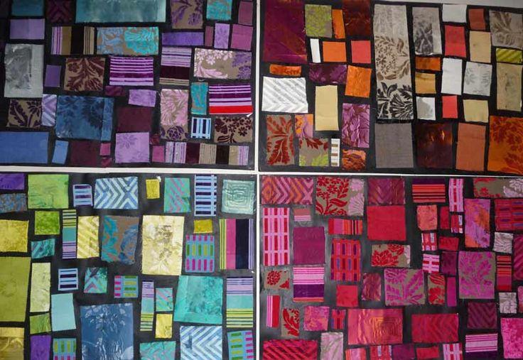 A la manière de Mondrian... Ces tableaux (2 A2 scotchés ensemble) sont réalisés avec des morceaux de tissus issus de catalogues de décoration donnés par un magasin. L'adulte découpe les rectangle. Les enfants, par groupe de 4 à 6, doivent les positionner de façon à ce qu'ils ne se touchent pas et que le même motif ne se juxtapose pas. Les espaces entre les rectangles doivent être réguliers