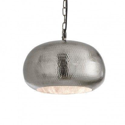 Hammered Metal Pendant Large Bowl Matt Nickel Lighting Direct Round Pendant Light