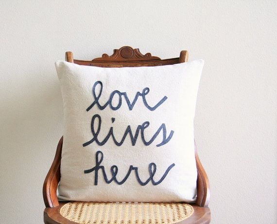 love lives here pillow cover housewarming by SassyStitchesbyLori