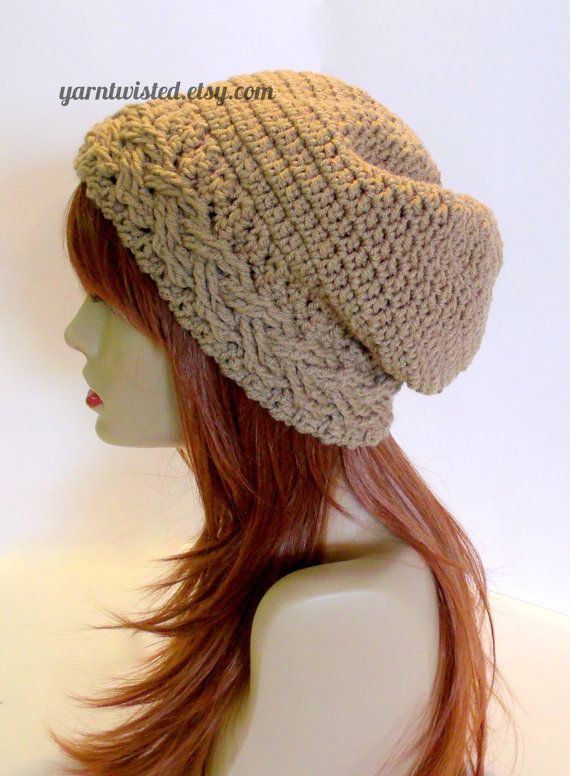 CROCHET PATTERN PDF - Instant Digital Download - Braided Cable Banded Taupe Slouchy Hat - women, teen, fashion accessory, diy