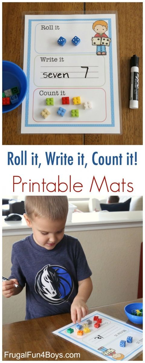 Printable Roll it, Write it, Count it Mats for Kindergarten! Could use three dice to work on teen numbers.