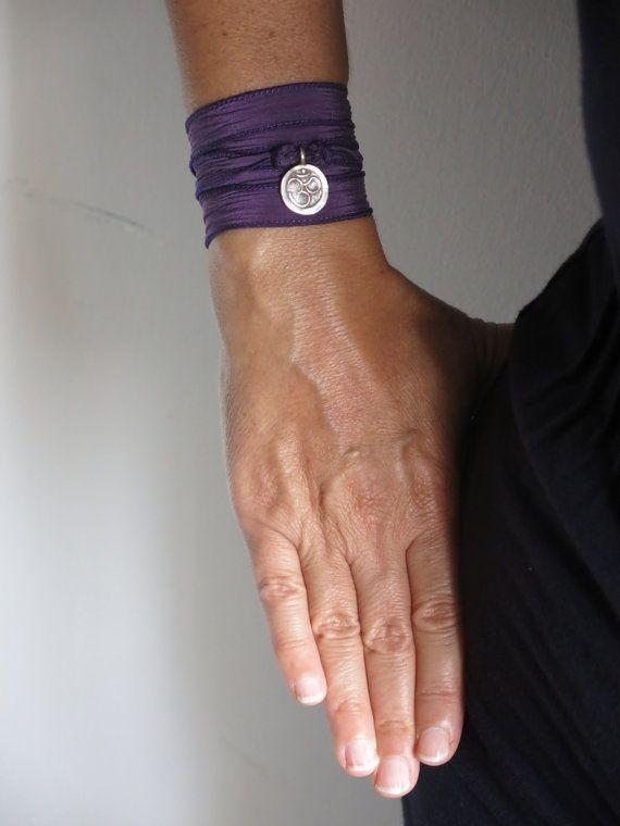 silk wrap  bracelet,  purple bracelet, boho bracelet on Etsy, $38.99