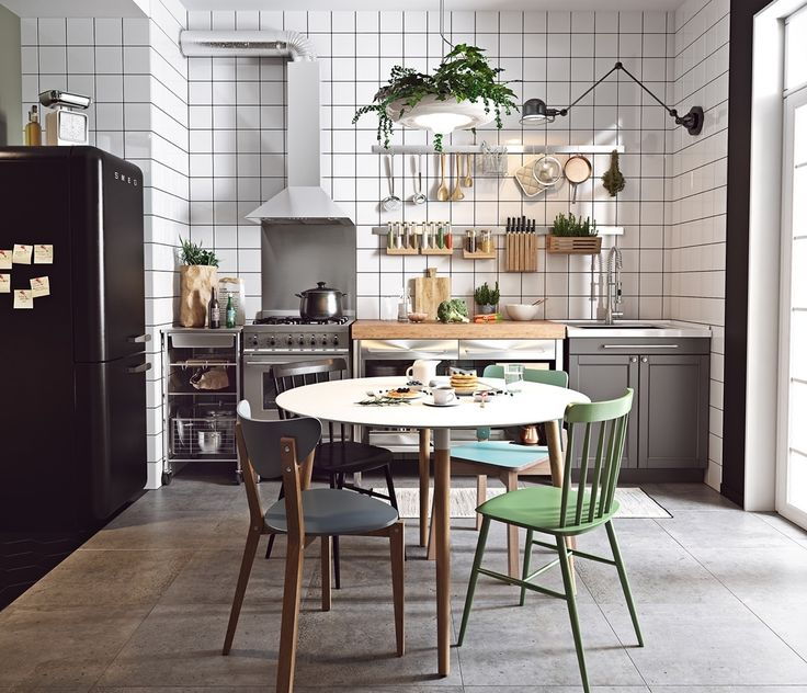 This mixed kitchen, hung with plant chandeliers.