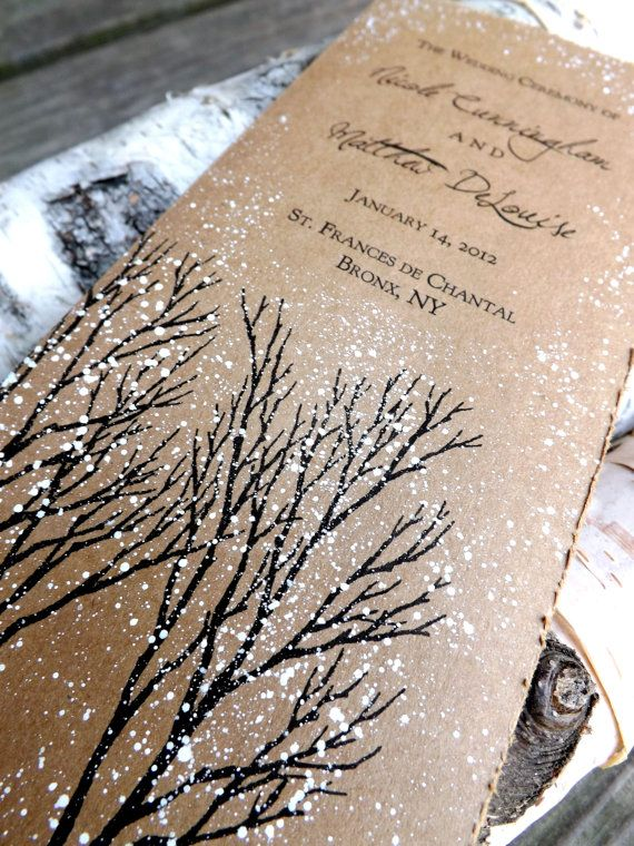 Winter Wedding program rustic winter tree and snow hand painted