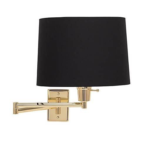 brass with black drum shade plugin swing arm wall lamp